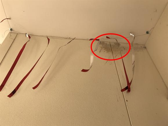 ツバメの巣対策の防鳥テープ